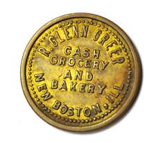 R Glenn Greer Cash Grocery Bakery R Glenn Greer New Boston Ill 5c Trade Token