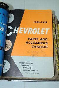 1929-1959 CHEVROLET MASTER PARTS + HEAVY DUTY TRUCK + RADIO CATALOGS + BINDER 41