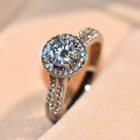 2.50Ct Round Cut Moissanite Beautiful Halo Engagement Ring 14K White Gold Finish