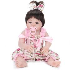 22'' Lifelike Reborn Full Body Vinyl Girl Baby Doll Handmade Silicone + Pacifier