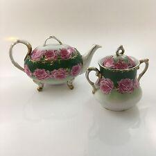 Stienmann Porcelain Germany California Rose a La France Tea Pot & Sugar Green
