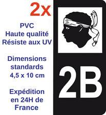2x Sticker Autocollant immatriculation Adhésif Département 2B Corse Corsica Noir