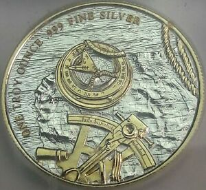 PROSPECTOR .999 SILVER ROUND GOLD GILDED PRISTINE ICG PROOF LIKE GENUINE #1