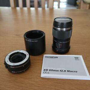 Olympus M.Zuiko Digital ED 60mm f/2.8 Macro Lens. + Lenshood and Ext. Tubes