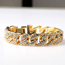 BRACELET MENS DE ORO YELLOW GOLD FILLED AND STONES GLASS (21 CM)