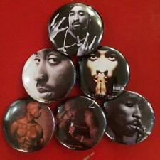 "1.25"" Tupac pin back button set of 6 2pac Shakur"