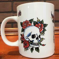 Ed Hardy Tattoo Skulls and Roses with signature White Coffee Mug Nice Stock 532