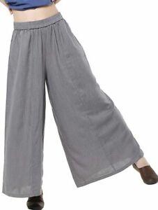 Match Life Womens New Loose Linen Wide leg Elastic Waistband Pants U.K. 14 Grey