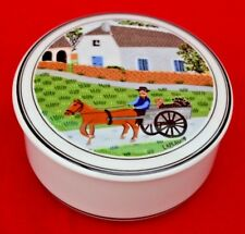 "VILLEROY AND BOCH ""NAIF"" LIDDED TRINKET POT -  ""GOING TO MARKET"" - SUPER CONDIT!"