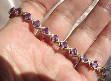 "Amethyst Line Bracelet. 8.00 carats. 10K Solid Gold. Size 7-1/2"" NIB"