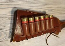 Leather Shotgun Shell Cartridge Buttstock Holder Cheek Rest Padded - 12 GA