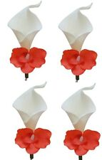 4pc Boutonnieres - Real-Touch Calla Lily and Orchid Prom Wedding Boutonniere