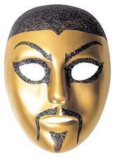 Gold Pvc Chinaman China Man Face Mask Oriental Fancy Dress