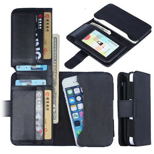 Universal Card Holder Flip Wallet Leather Case Cover For iPhone Samsung HTC Sony