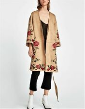 ZARA BEIGE SUEDE EFFECT EMBROIDERED WRAP KIMONO STYLE COAT JACKET SIZE XL