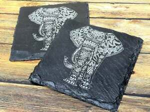 Laser Engraved Slate Coaster - Elephant Pattern gift idea