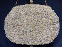 Vintage 1950s Beaded White Ivory La Regale Evening Bag Purse Iridescent Sequin