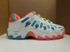ST429  K Swiss Casual Tennis Shoes White Blue Orange