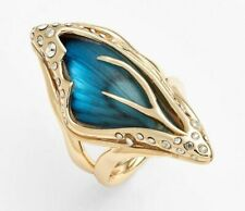 NEW Alexis Bittar Azure Blue Jardin Mystère Gold Butterfly Wing Ring Crystal 6 7