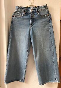 Zara High Rise Jeans Cropped Schnitt Wide Leg 36 S NEU