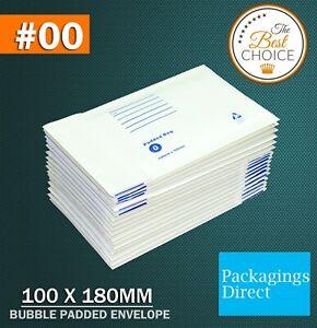 Bubble Mailer 00 100 X 180MM Padded Bag Envelope 25 / 50 / 100 / 200