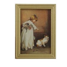 1/12 Resin Frame Girls and Cat Wall Mural Pictures Doll House Miniatures F3V9