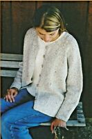 "V Neck Neckdown Cardigan Women Knitting Pure & Simple Pattern #994 XS-XL 36""-52"""