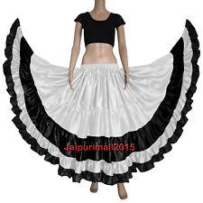 Mix Color Gypsy Satin 25 Yard Skirt Tribal Belly Dance Flamenco Ruffle Jupe Rock