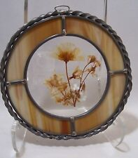 "Sun Catcher Beige & White Stained Glass with Dried Flower Center 7X7"" New"