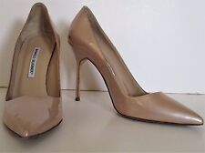 Manolo Blahnik Shoes Pumps Stiletto Heels champagne patent leather 39 Ladies