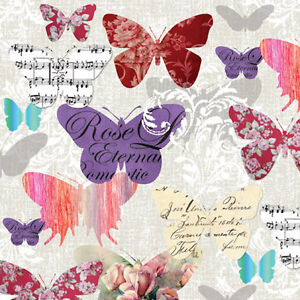 20 Paper Cocktail Napkins ROMANTIC BUTTERFLIES PARTY DECOUPAGE Pink