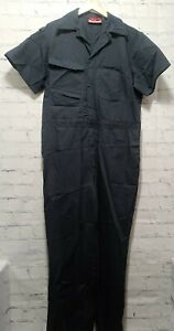 Craftsman Twill Coveralls With Teflon Mens Large LG L Gray Blue Short Sleeve