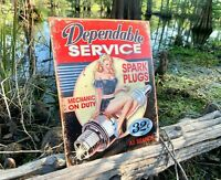 Dependable Service Vintage Metal Tin Sign Wall Decor Garage Man Cave Home Shop