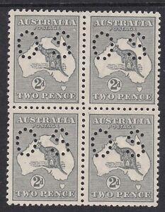 1915 2d Grey Kangaroo Die 1, 3rd wmk, Perforated OS, Block of 4, MUH/MvLH