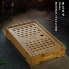 Chinese Gongfu Tea Tray with Storage Water Tea Serving Bamboo Tray 28*19cm