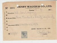 Malaya Henry Waugh & Co.Ltd Penang 1953 From Sin Company Stamp Receipt Ref 37513