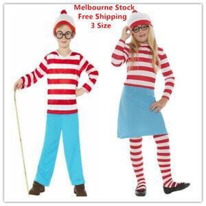 Kids Wenda Waldo Wheres Wally Costume Girls Boys Where's Book Week Cartoon Dress