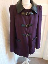 Miss Selfridge Purple Wool Blend Coat Size 10 Faux Leather Trim