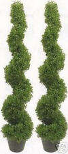 "2 Topiary 63"" Artificial Outdoor Boxwood Spiral Uv Tree 5' 3"" Bush Pool 4 Patio"
