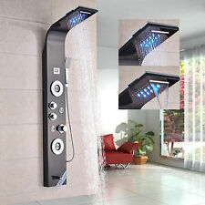 LED Black Night Shower Panel Column Tub Massage Sprayer Hand Shower Mixer Tap