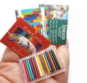 Dollhouse Miniature Accessories Colour Pencils With 3 Paper Boxes Re-ment Size