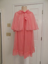 vtg womens nightgown peignoir set jacket 50's 60's 2pc pink Vanity Fair Rare L