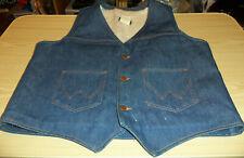 Wrangler Blue Jean Vest - Lined - Button Front - Size Large - 14 Ounce Denim