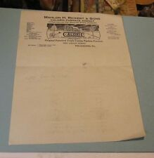 1923 Rickert & Sons Caloric Furnace Agency Letterhead Philadelphia Pennsylvania