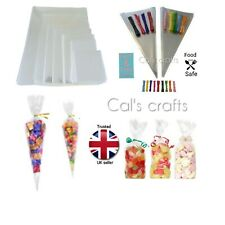 Clear Cellophane Cone Bag LARGE Sweet Party Favour Gift cello & Polka Dot Ties