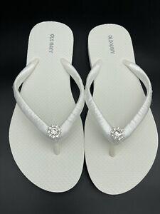 Rhinestone Bridal Flip Flops, Beach Wedding Flip Flops, Women SIZE 10