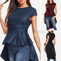Womens Short Sleeve Cocktail Party Tops Blouse High Low Tunic Fashion Shirt Tees