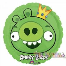 ANGRY BIRDS KING PIG FOIL MYLAR BALLOON ~ Birthday Party Supplies Helium Decor