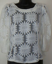 VINTAGE SIXTIES RUCHED SHOULDER SUNFLOWER LACE VOILE BLOUSE - OFF-WHITE Size 6-8