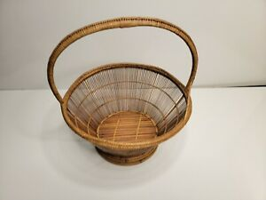 Vintage Hand Made Bamboo ? Basket with Handle 13'' T ~ 11'' W